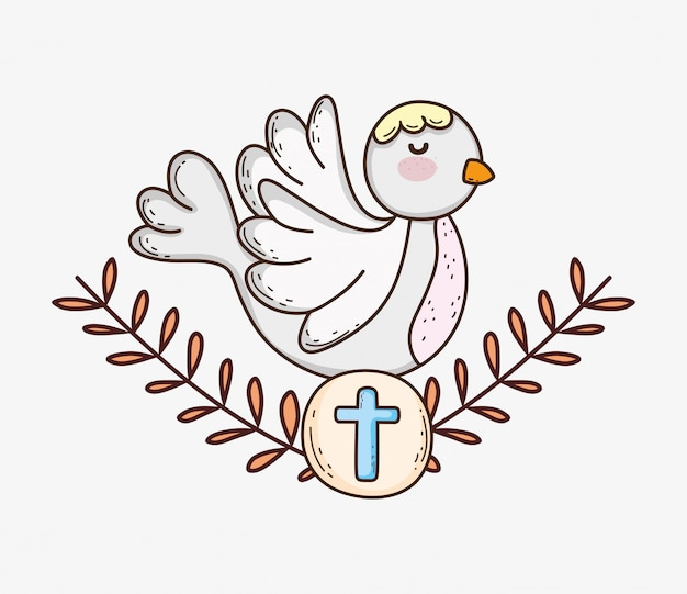 My first communion with dove and host with branches leaves Premium Vector