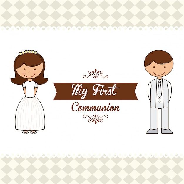 My first communion Premium Vector
