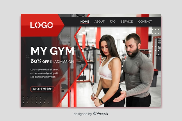 My gym promotion landing page Free Vector