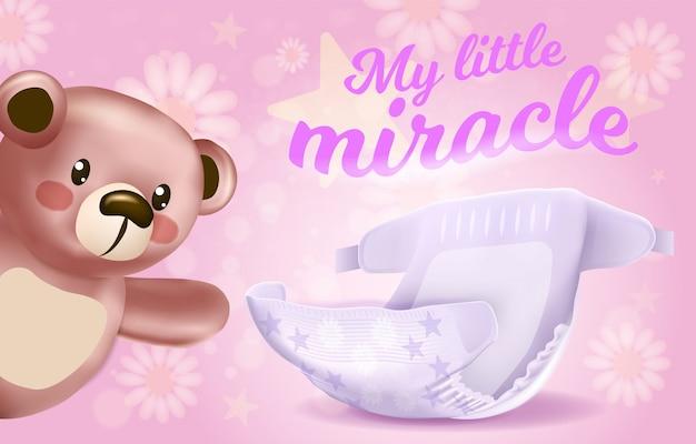 My little miracle horizontal banner, absorbent diaper Premium Vector