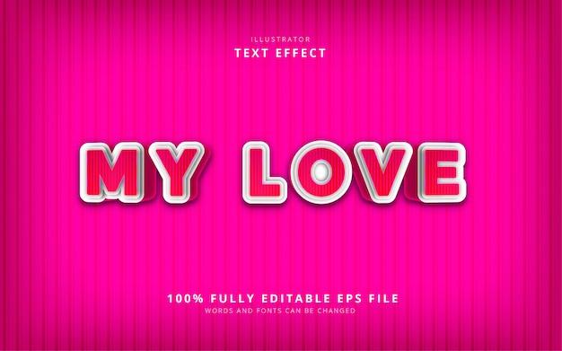 Мой текстовый эффект любви Premium векторы
