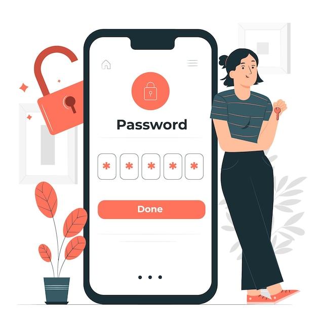 La mia illustrazione del concetto di password Vettore gratuito