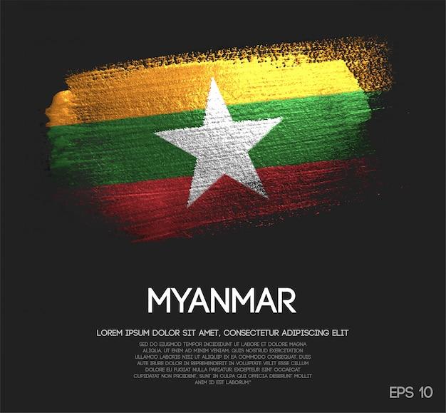 Myanmar flag made of glitter sparkle brush paint Premium Vector