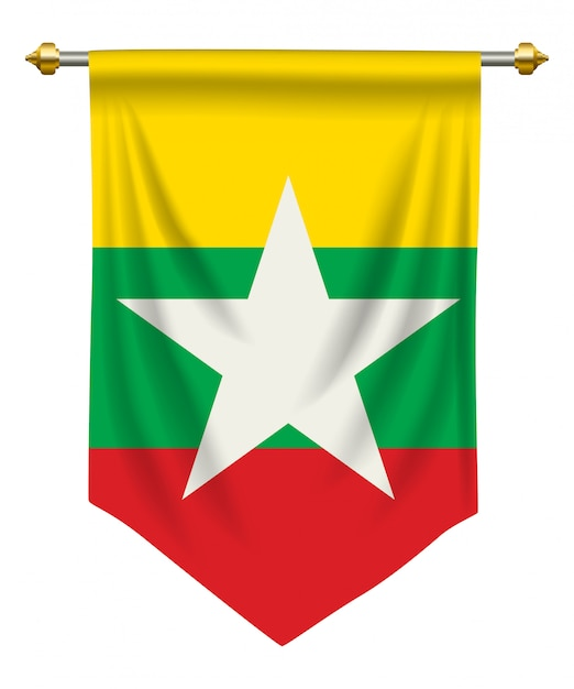 Myanmar pennant Premium Vector