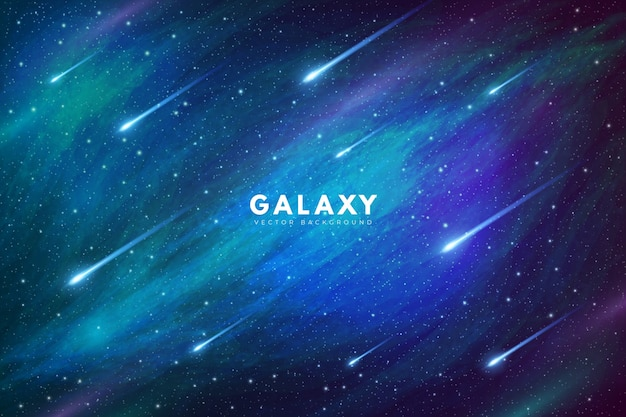 Mysterious galaxy background with shooting stars Free Vector