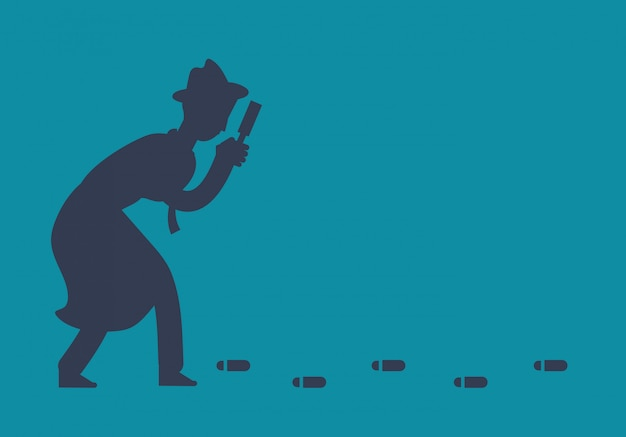 Mysterious investigator detective is following footprints illustration Premium Vector