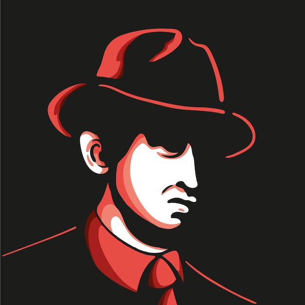 Mysterious mafia character with hat Free Vector