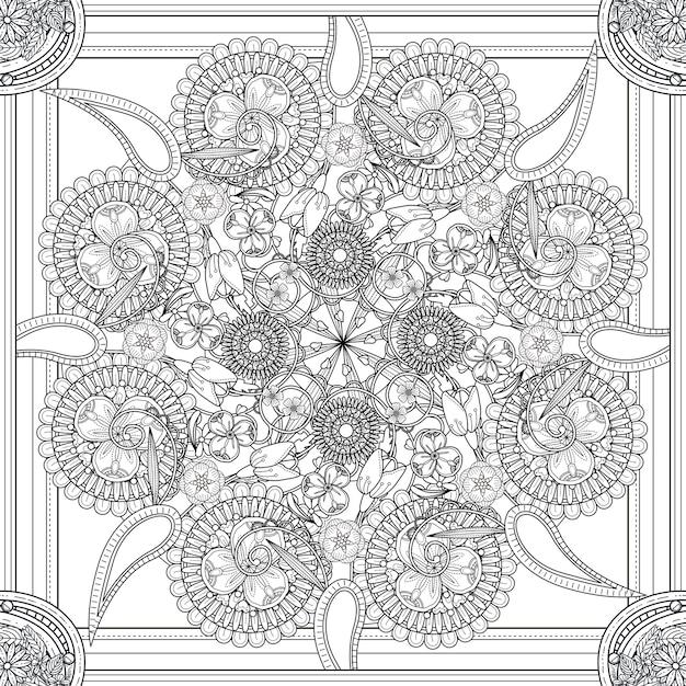花の要素を持つ神秘的な曼荼羅の背景デザイン Premiumベクター
