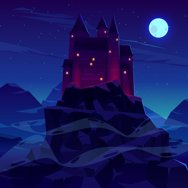 Mysterious medieval castle with stone towers spires Free Vector