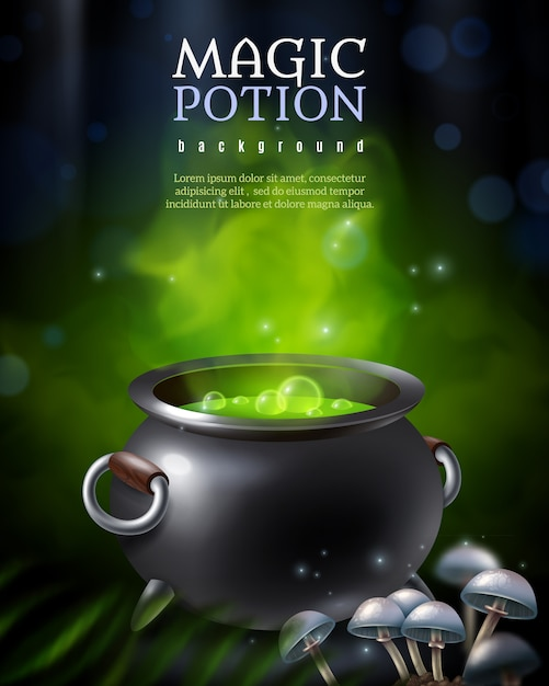 Mysterious poison pot background Free Vector