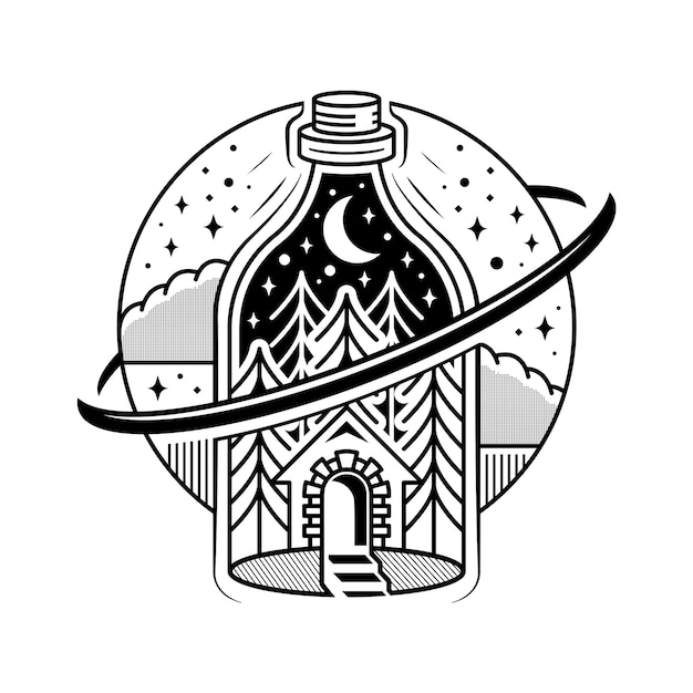 Mystery bottle alchemy tattoo design Premium Vector
