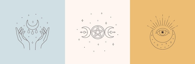 Mystic boho logo design elements with moon hands star eye Premium Vector