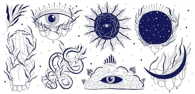 Mystic set illustration Premium Vector