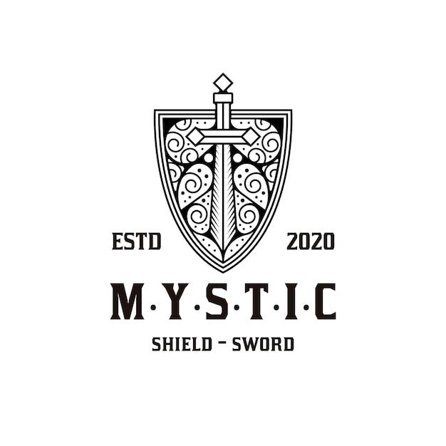 神秘的な盾の剣のロゴデザイン Premiumベクター