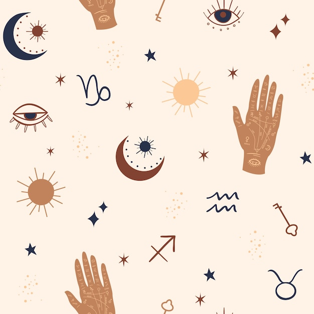 Mystical and celestial seamless pattern with eyes, stars, palm and zodiac elements. Premium Vector