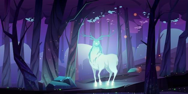 밤에 어두운 숲에서 신비로운 빛나는 사슴 실루엣 무료 벡터