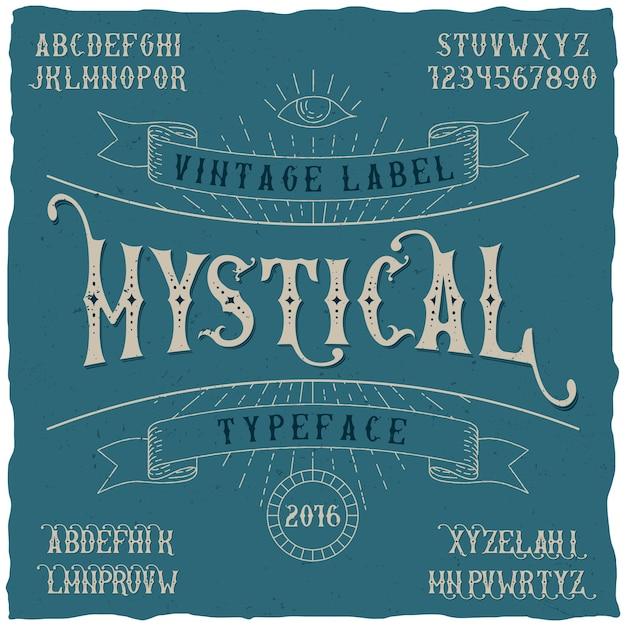 Постер с мистическим шрифтом, который можно использовать в любых этикетках в винтажном стиле Бесплатные векторы