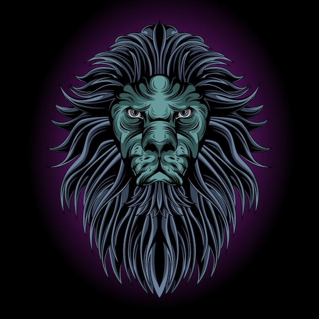 Mystical lion head Premium Vector