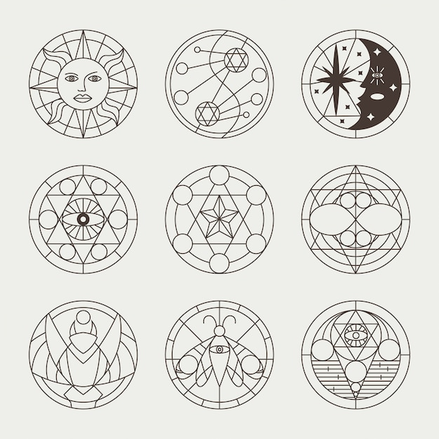 Mystical occult tattoos, witchcraft circles, sacred signs, elements and symbols. vector geometric magic icons set isolated Premium Vector