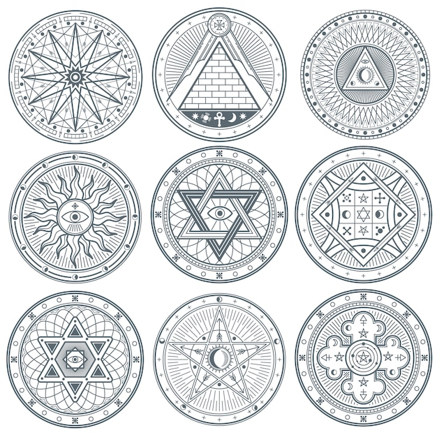 Mystical vintage gothic vector tattoo symbols Premium Vector