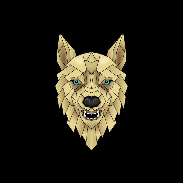 Mystical wolf in black and gold Premium Vector