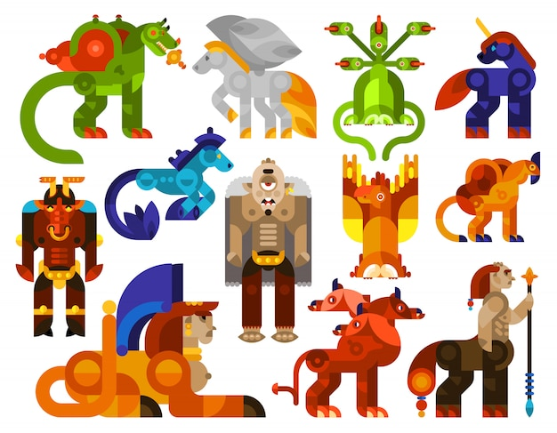Mythical creatures icons Free Vector