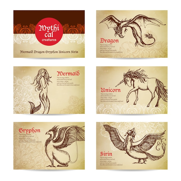Mythical creatures set Free Vector