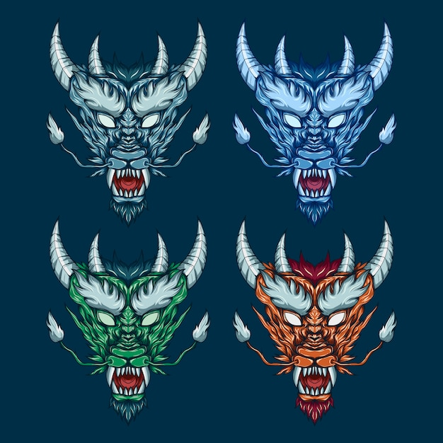 Mythical dragon head set illustration Premium Vector