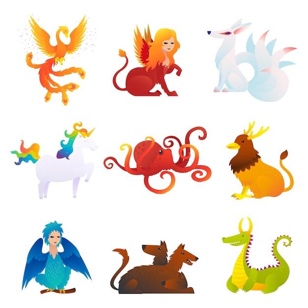 Set di creature mitiche e fantastiche Vettore gratuito