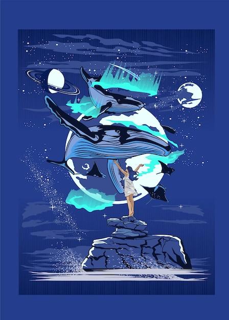 Мифический кит Premium векторы