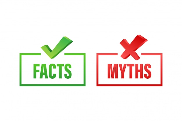 Myths facts. facts, great design for any purposes.  stock illustration. Premium Vector