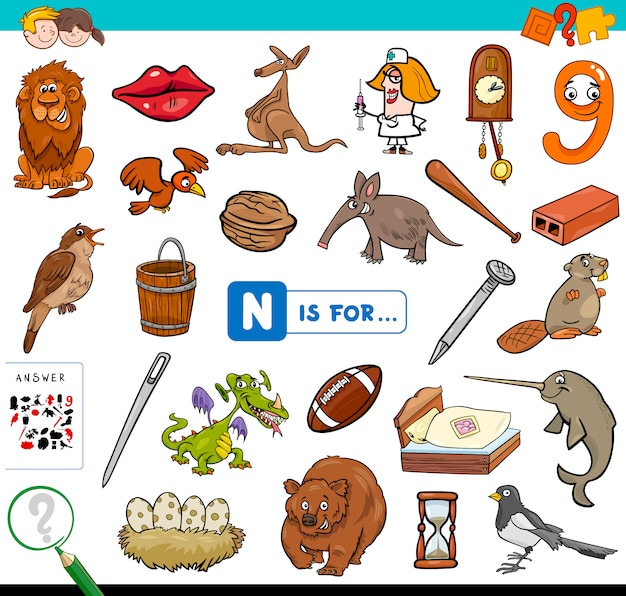 N is for educational game for children Premium Vector