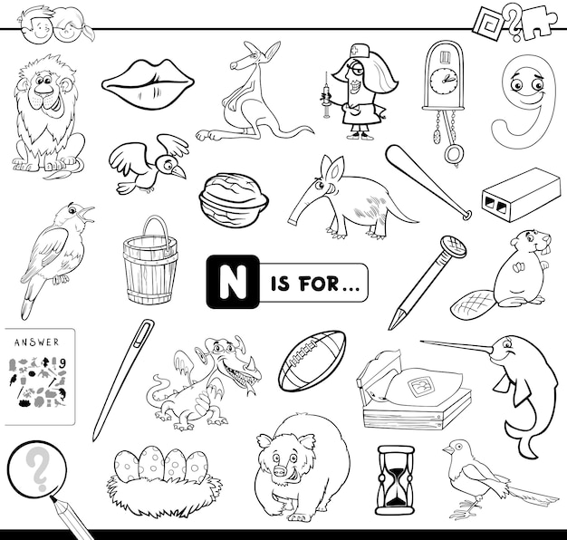 N is for educational game coloring book Premium Vector