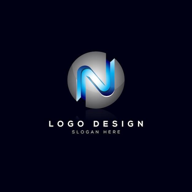 N letter 3dロゴのテンプレート Premiumベクター