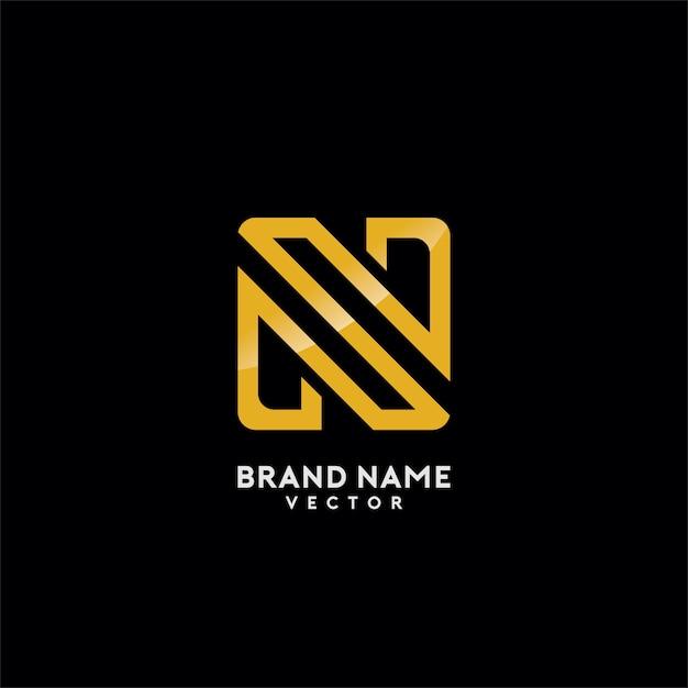 N letter gold monogram logo design Premium Vector
