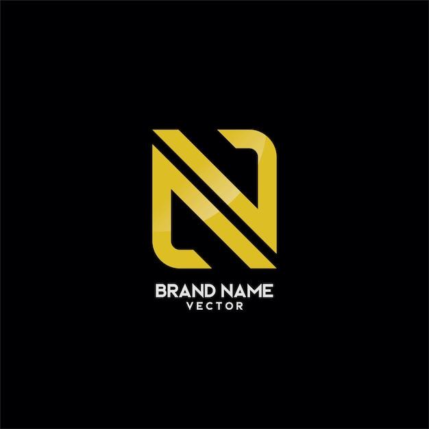 N letter gold monogram logo