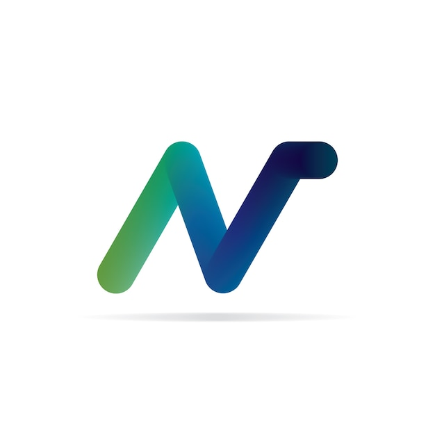 n letter logo 3d initial logo template vector premium