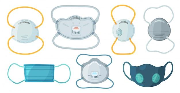 Защитные дыхательные маски. маска промышленной безопасности n95, респиратор от пыли и респираторная медицинская маска Premium векторы