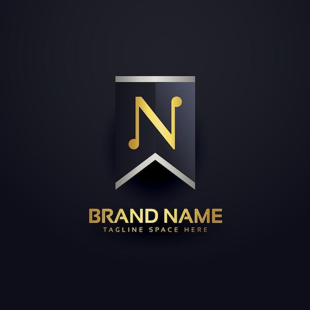 文字nを作成するロゴデザインテンプレート 無料ベクター