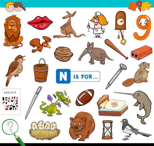 Nは子供のための教育的なゲームです Premiumベクター