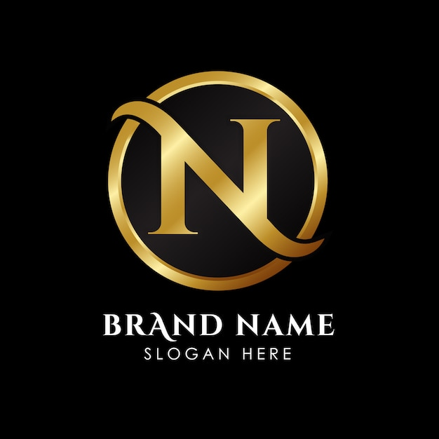 Роскошный шаблон логотипа буквы n в золотом цвете Premium векторы