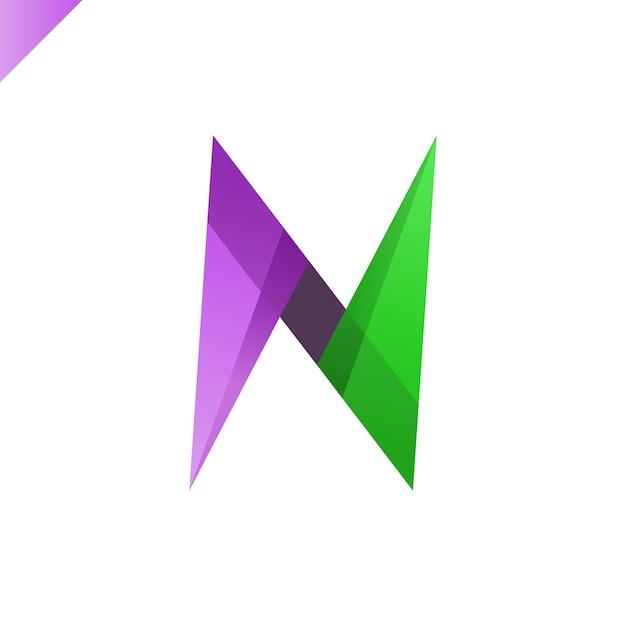 手紙nロゴ Premiumベクター