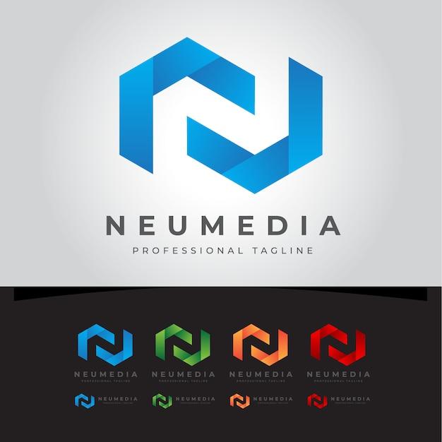 ノメディアn文字ロゴ Premiumベクター