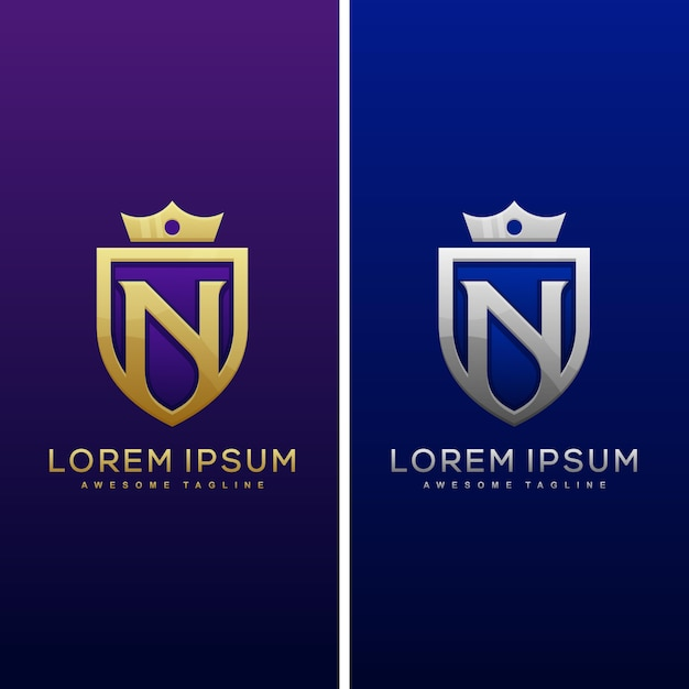 N文字シールドロゴと盾のアイコンベクトルのデザインテンプレート Premiumベクター