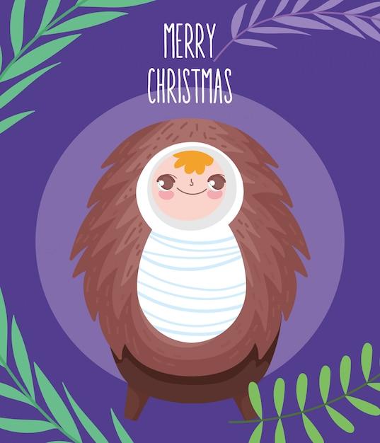 ベビーベッドの飼い葉naキリスト降誕、メリークリスマスの赤ちゃんイエス Premiumベクター