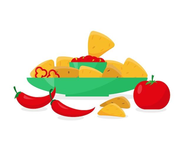 トマトまたはペッパーソースのプレートのナチョス Premiumベクター