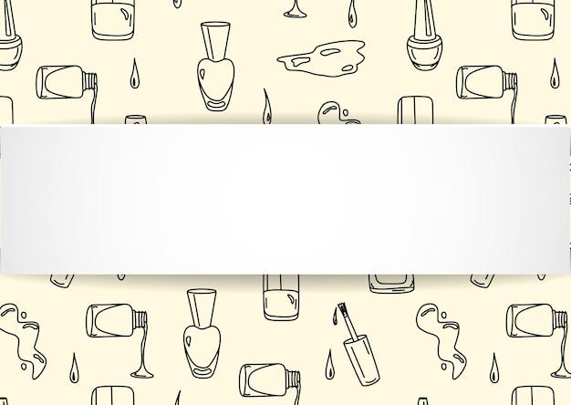 落書きマニキュアシームレスパターンのネイルバナー。 Premiumベクター