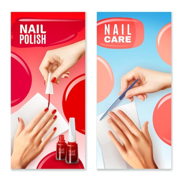 Nail care polish banners set Free Vector