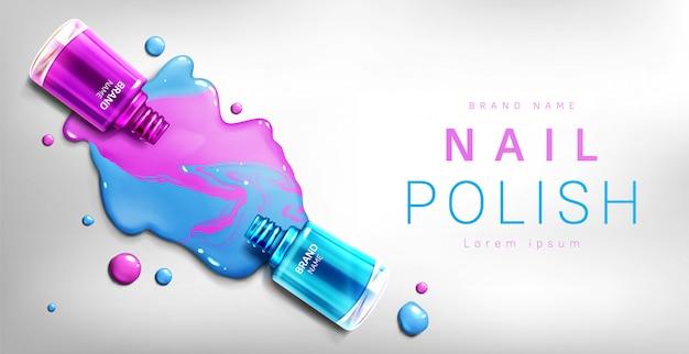 Nail polish 3d bottles banner, advertising Free Vector