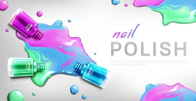 Nail polish 3d bottles  banner Free Vector